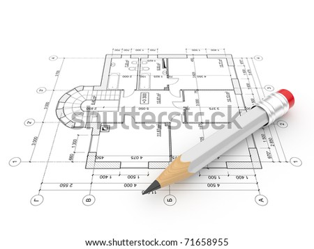 Plan of construction. Isolated on white background