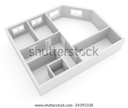 Plan Of Modern Apartment With Empty Rooms With Windows And ...
