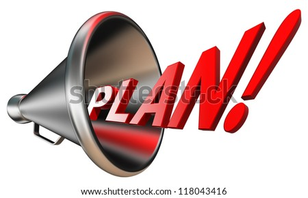 plan red word in megaphone isolated on white background. clipping path included