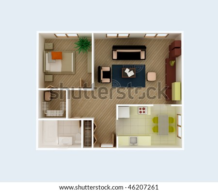 Plan view of a house. Clear 3d interior design. Kitchen, Dining, Living, Bedroom, Wolk in Closet, Hall, Bathroom. Rooms Overhead Top View.