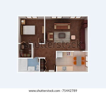 Plan view of a house clear 3d interior design kitchen for 1 bedroom hall kitchen plan
