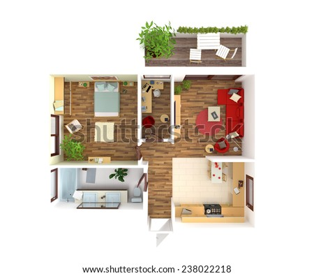 Plan view of an apartment kitchen dining living for Plan your bathroom 3d