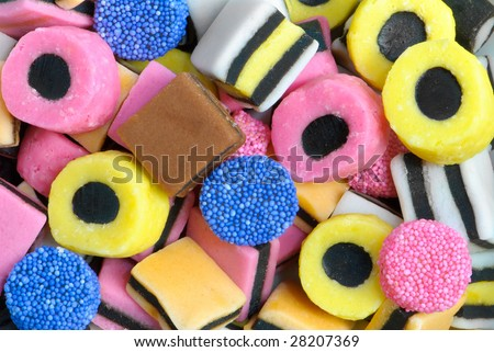 Plan view of colourful liquorice sweets