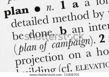 Plan word dictionary definition closeup