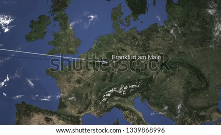 Plane arriving to Frankfurt Am Main, Germany from west, 3D rendering