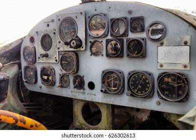 Stock Photo - Plane cockpit, old aircraft interior