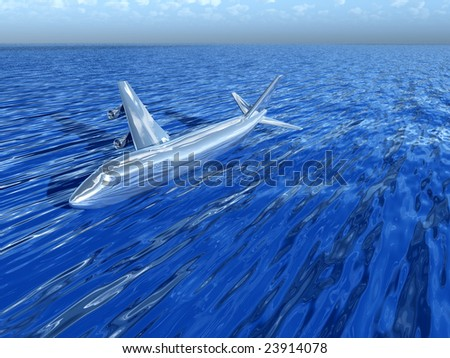Plane crash in water.