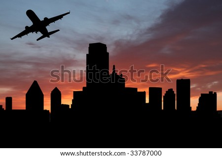 plane departing Dallas at sunset illustration