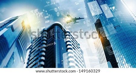 Plane flying above skyscrapers. Business travel concept #149160329