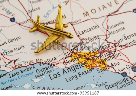Plane Going to Los Angeles, Map is Copyright Free Off a Government Website - nationalatlas.gov
