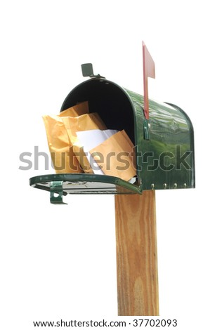 Plane green metal mailbox with packages  isolated on white