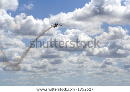 Plane in a aerial show with beautiful sky