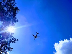 Plane in the blue sky with cloud, trees and sun