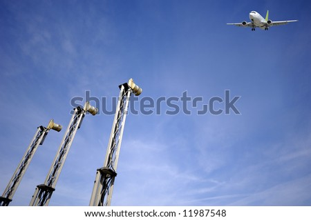 Plane is just going to land in airport.