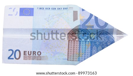 Plane made of twenty euro note