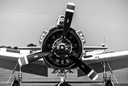 Plane Military Rotorcraft Engine Blackandwhite