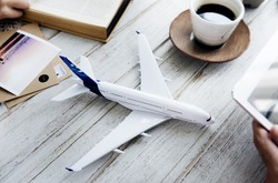 Plane Model Tablet Travel Holiday Concept