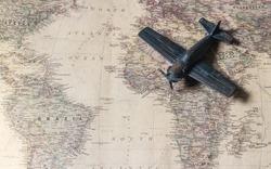 Plane on the map ,  international flights