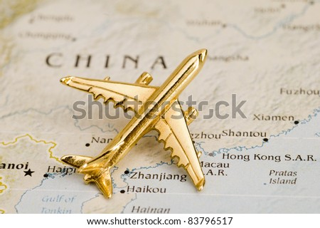 Plane Over China,Map is Copyright Free Off a Government Website - nationalatlas.gov