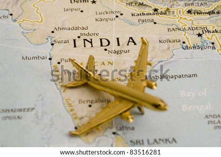 Plane Over India, Map is Copyright Free Off a Government Website - Nationalatlas.gov