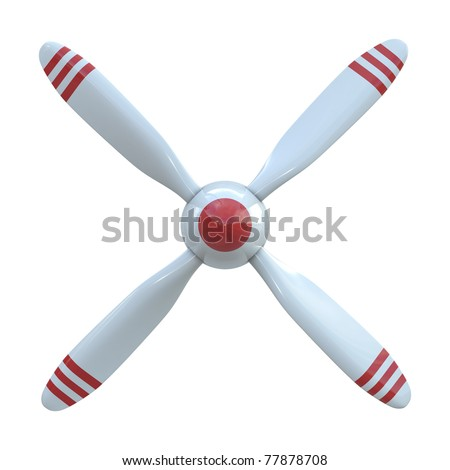 Plane propeller with 4 blade isolated on white background