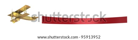 Plane pull a red banner, isolated on white