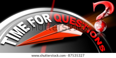 Plane red Paper with written time for questions on a black background and question mark