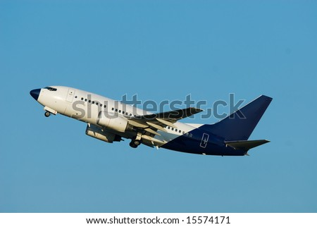 plane take off with blue sky