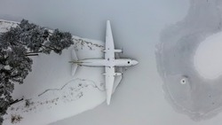 Plane wreckage on a frozen lake