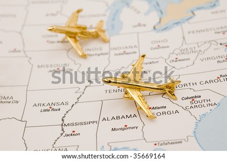 Planes Flying Over the United States. Map is Copyright and Trademark Free, Downloaded off www.nationalatlas.gov