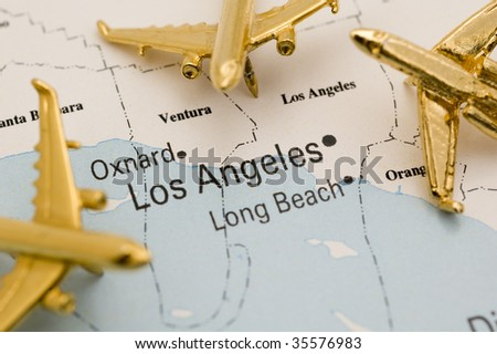 Planes Going to L.A., Map is Royalty Free Off a Government Website.