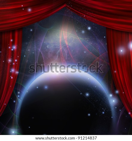 Planet and space with stage curtians