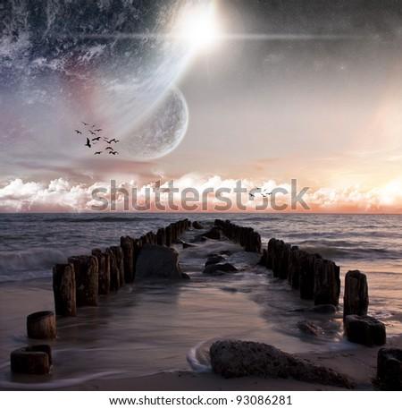 Planet beach landscape