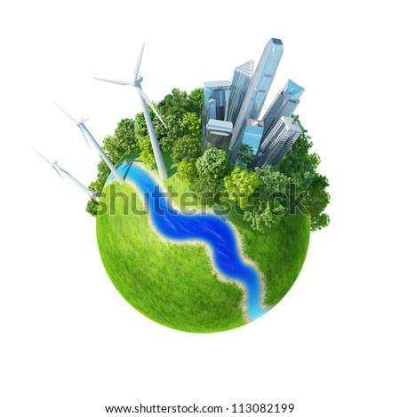 Planet. City, river, park, wind turbines, and fresh green field. Earth collection.