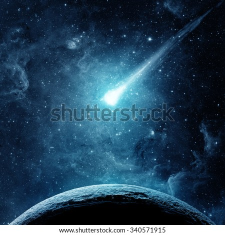 Planet, comet and galaxy. Elements of this image furnished by NASA.