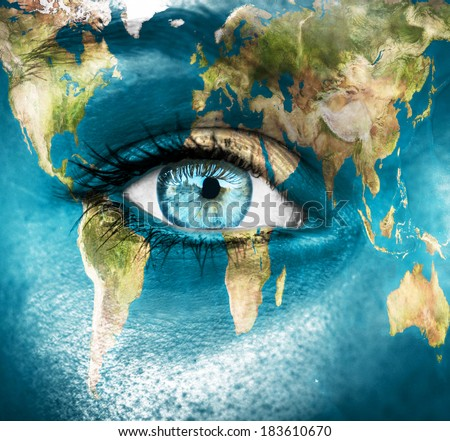 Planet earth and blue human eye - \