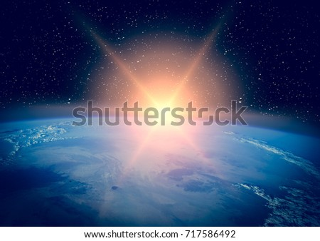 Planet earth and fascinating sunrise. The elements of this image furnished y NASA.