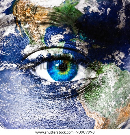 "Planet earth and human eye - ""Elements of this image furnished by NASA"""
