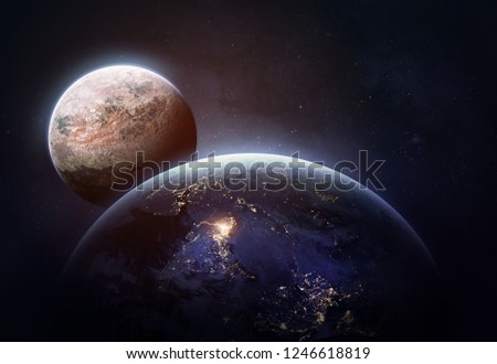 Planet Earth and other planet on the background. Mars. Red planet. Deep space. Elements of this image furnished by NASA