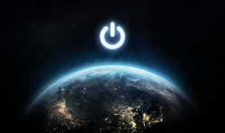 Planet Earth and power button. Earth hour event. Ecology. Elements of this image furnished by NASA
