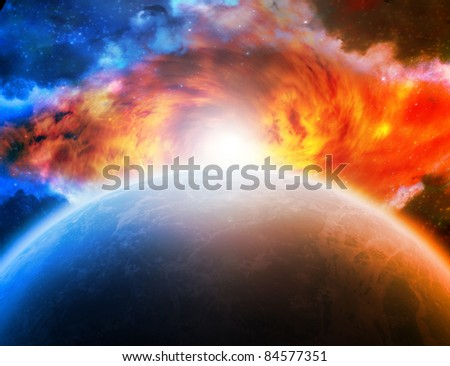 Planet Earth and sunrise