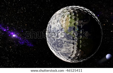 Planet Earth and the moon as golf balls in the universe with beautiful background of stars and a nebula as a composition of 3D renders.