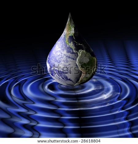 Planet Earth as a drop shortly before impact. Dark composition with rippled, dark blue water surface.