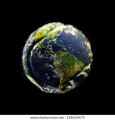 Planet Earth as a Tennis Ball isolated on black (original images of Earth are public domain images from NASA)