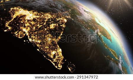 Planet Earth Asia zone. Elements of this image furnished by NASA
