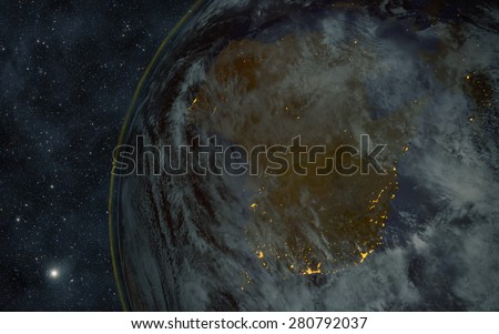Planet earth at night with space background - australia Elements of this image furnished by NASA