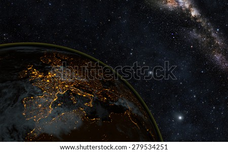 Planet earth at night with space background\ Elements of this image furnished by NASA