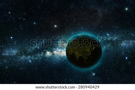 Planet earth at night with space background Elements of this image furnished by NASA
