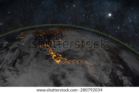 Planet earth at night with space background - japan Elements of this image furnished by NASA