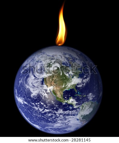 Planet Earth being consumed by a flame